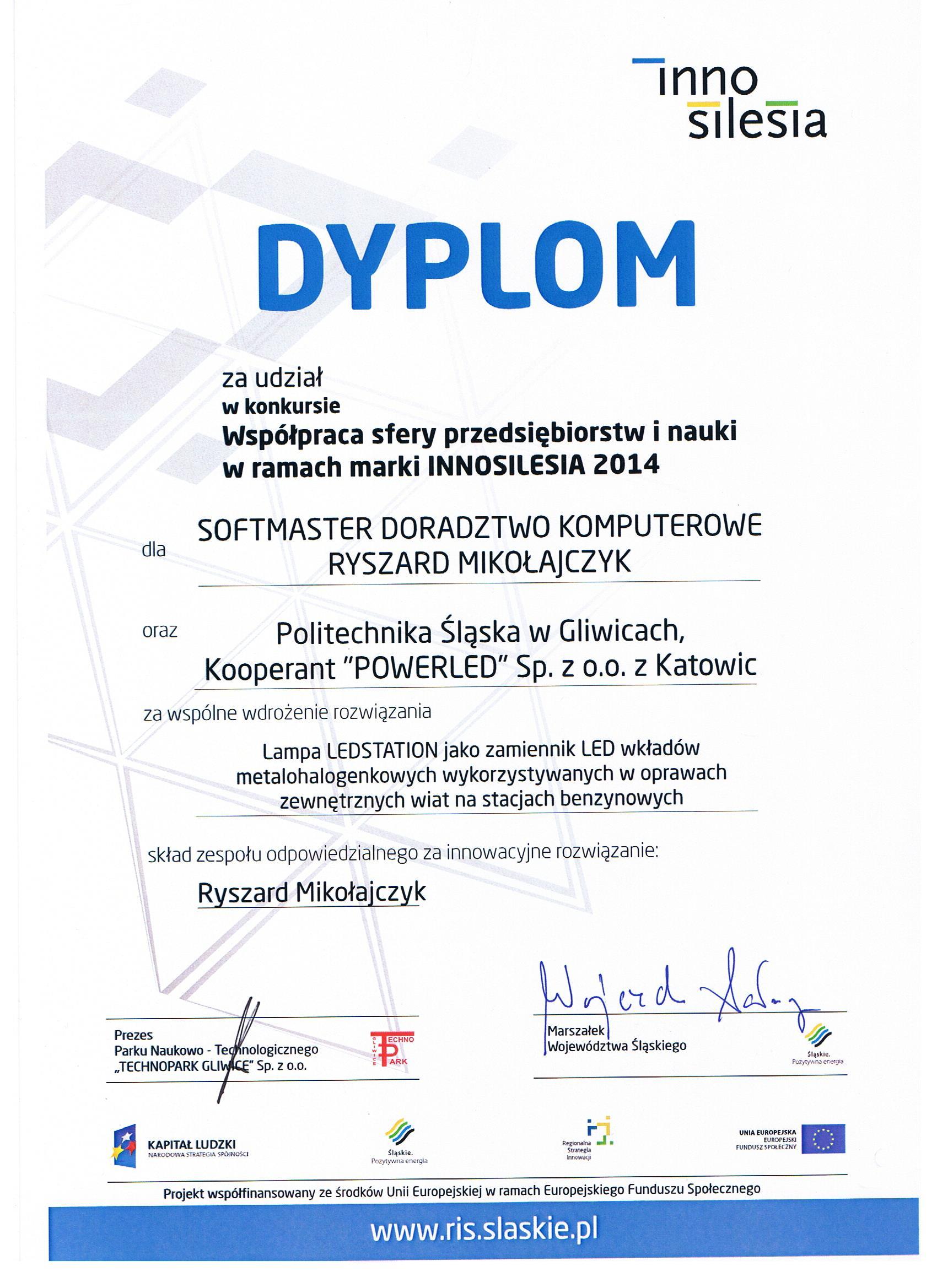Innosilesia2014-Dyplom ledstation dla SoftMaster